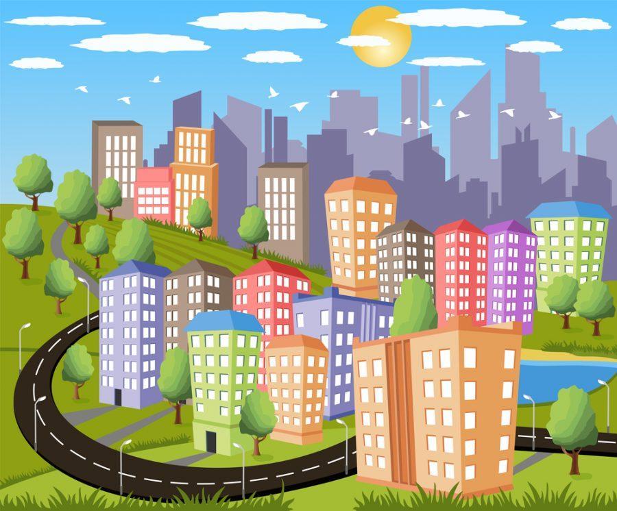 Cartoon+illustration+of+a+colorful+modern+city