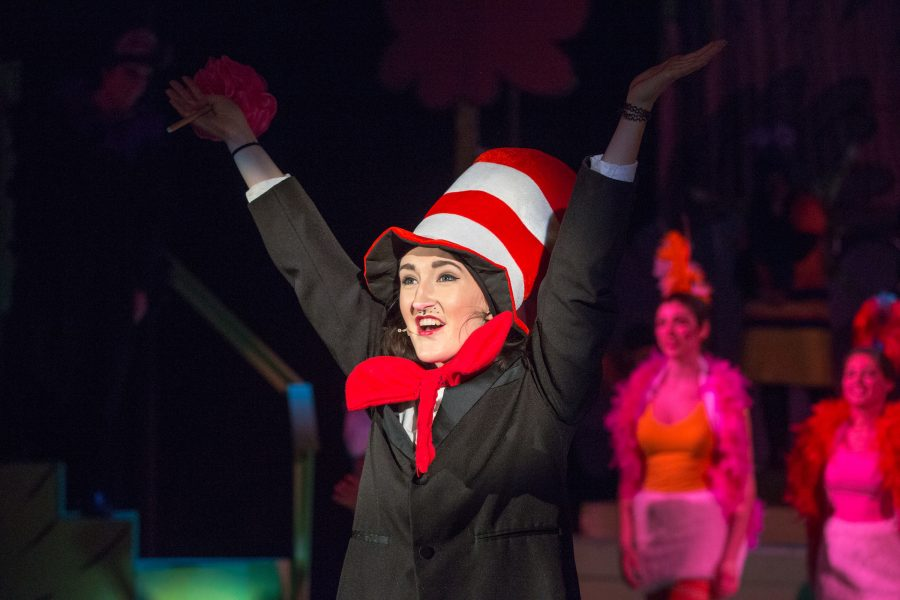 Kate Delaney 17 as The Cat in the Hat for the 2014 Upper School musical, Seussical. Photo by David Barron.