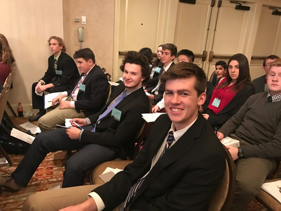 Lead Delegates for Model United Nations, Grant Iuliano 18 and Jack Donnelly 18, represent Laos and Uganda, respectively, at last years conference. Photo by David Cutler 02.