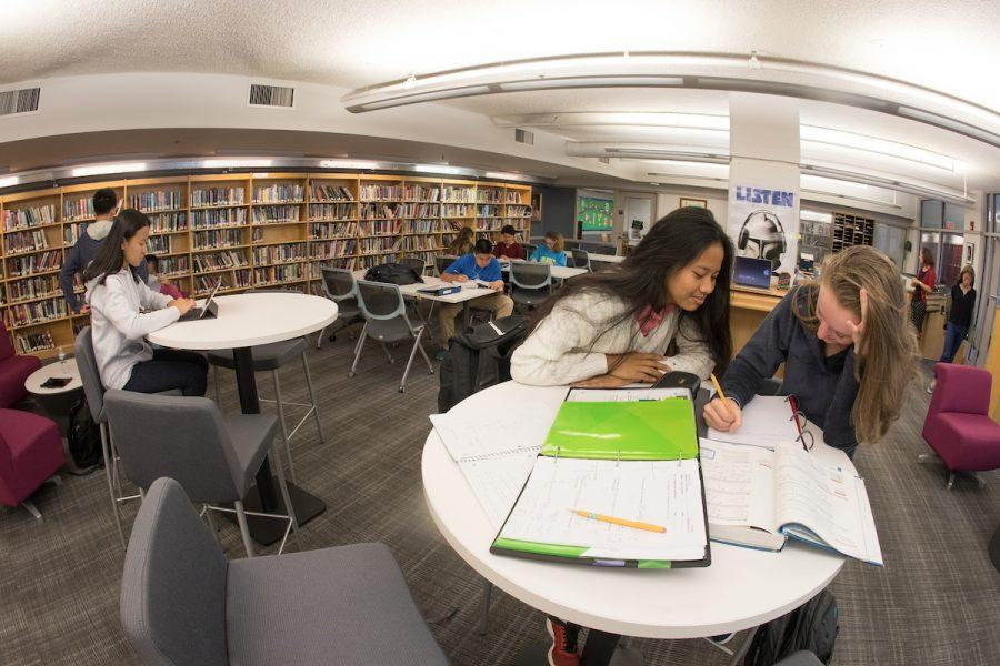 The redesigned library, now a learning commons, also houses academic support services. Photo by David Barron.