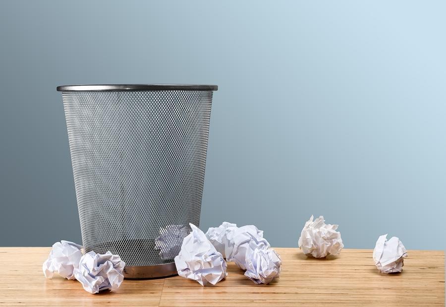 Concept trash paper ball throw ideas can