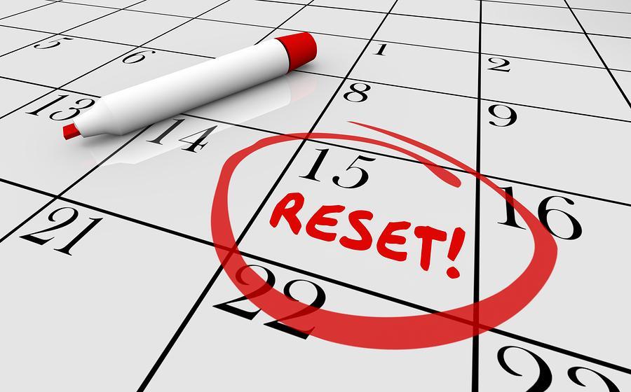 Reset Calendar Day Date Change New Start 3d Illustration