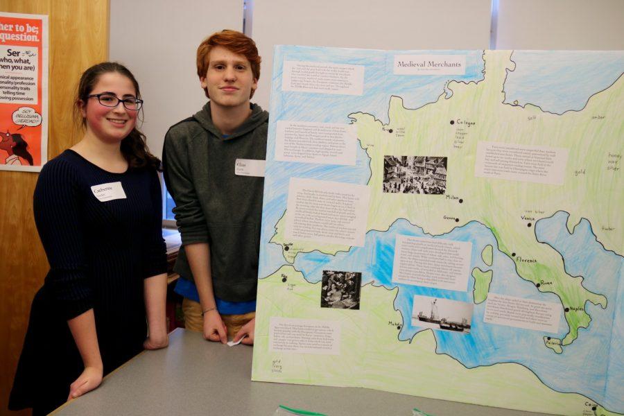Sophomores Elias Kazin and Catherine Leader present their Chaucer exhibit.