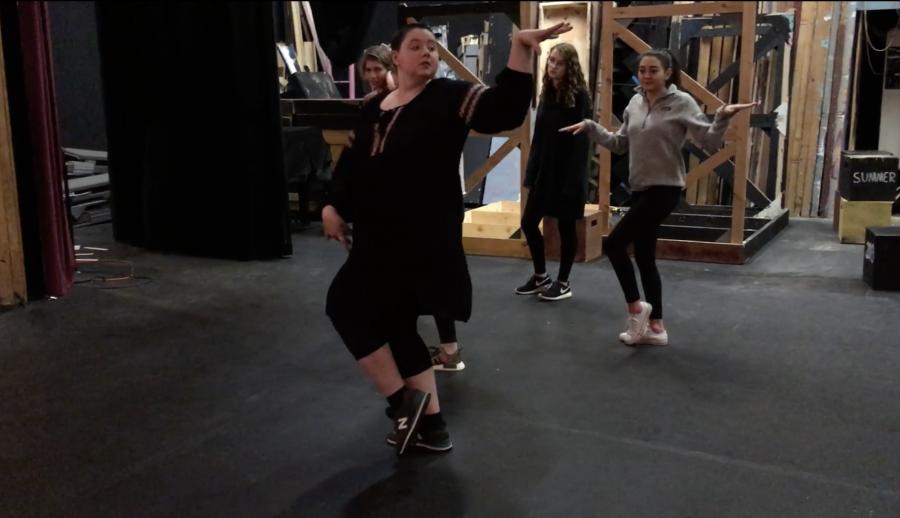 Ingrid Oslund, the new musical Choreographer, teaching students. Photo by Sadie Goodman 18.