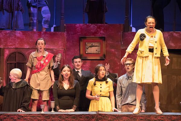 Students perform a number in recent production of The Addams Family. Photo by David Barron.