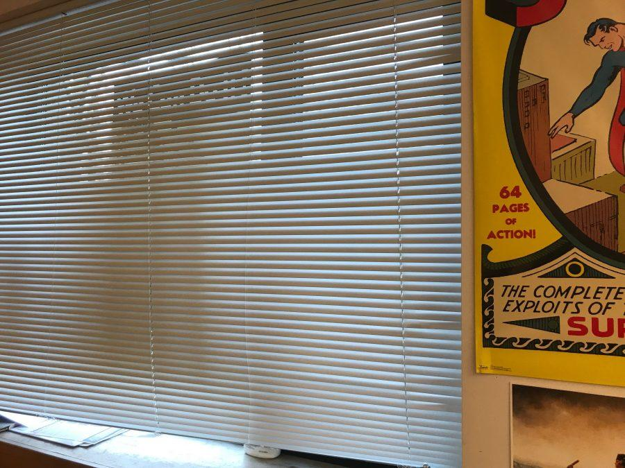 During a lockdown drill, the blinds are closed in David Cutlers classroom. Gator file photo.