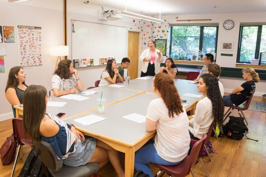 English+teacher+Kenley+Smith+with+her+senior+AP+Literature+class.+Photo+by+David+Barron.