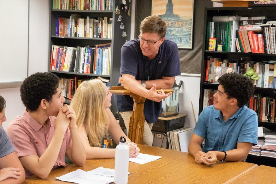 History+teacher+Ted+Barker-Hook+engaging+with+his+students.+Photo+by+David+Barron.+