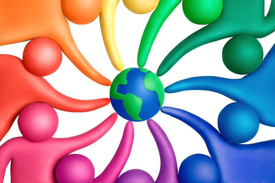 Multicolored+plasticine+human+figures+around+a+globe