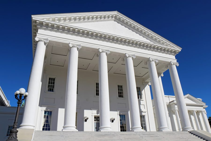 Front facade and columns of the neoclassical Virginia State Capitol building in Richmond. Photo purchased from BigStock.com.
