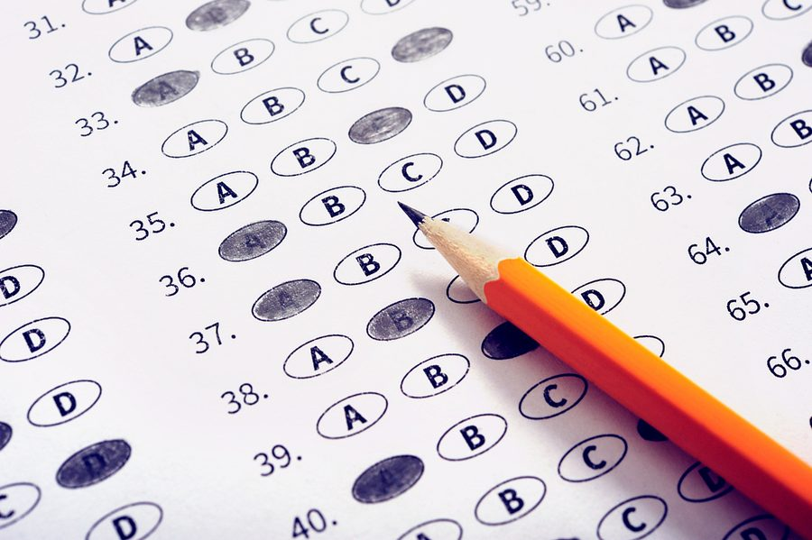 Exam test sheet with pencil. Education concept. Photo illustration purchased from BigStock.com.