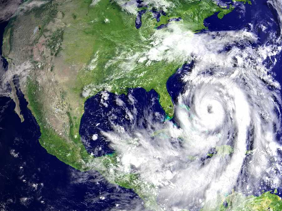 Huge hurricane Matthew in Atlantic near Florida. 3D illustration. Elements of this image furnished by NASA. Photo purchased from BigStock.com.