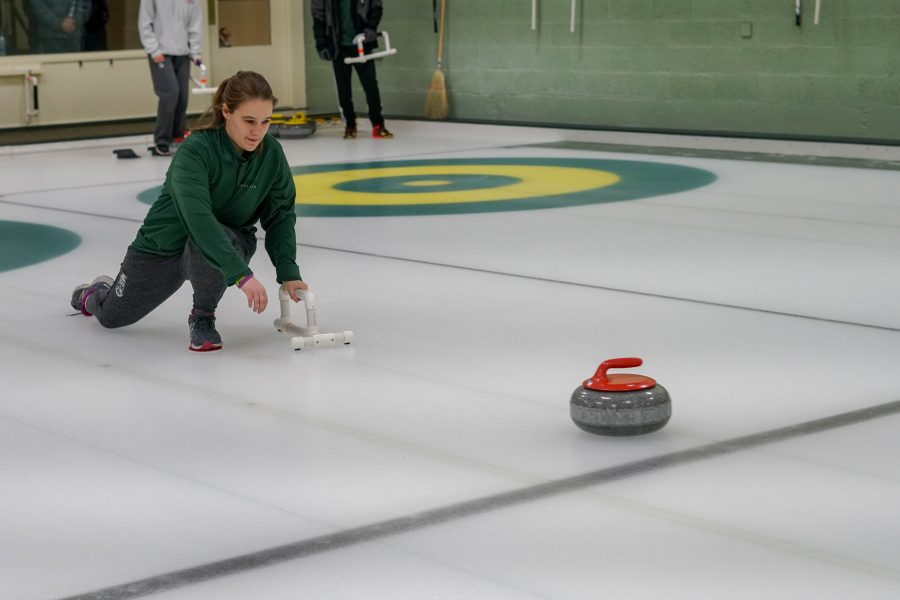 """""""I want to continue to develop my abilities in the sport while working on my own curling skills. I want all the curlers to enjoy coming to curling everyday and improve along the way."""" — Curling Co-Captain Samantha Estrada '20"""