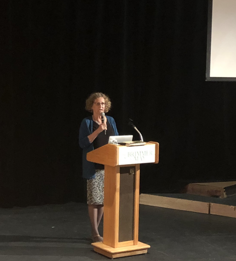 Prof. Rita Goldberg addresses the community about her experiences as a second-generation Holocaust survivor. Photo by Carl Vallely.