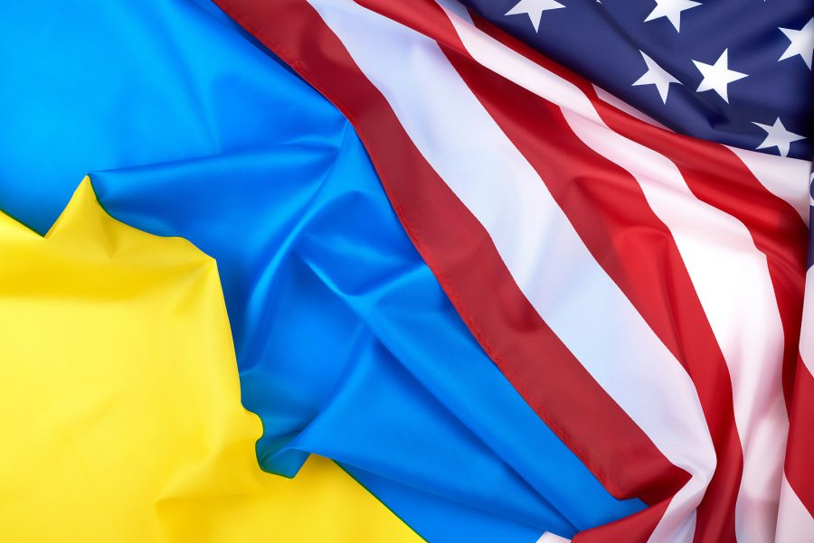 Flags of Ukraine and the United States of America, symbol of friendship and cooperation. Photo purchased from BigStock.com.