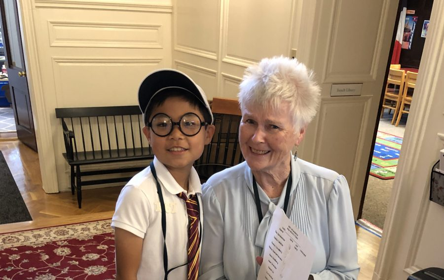 Virginia Beech poses with a Lower School Student, who served as Head of School for the day in October.