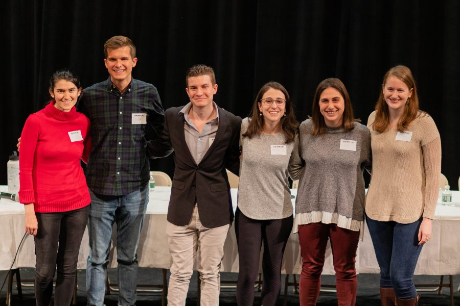 Alumni of the Global Studies program pose following the panel assembly.