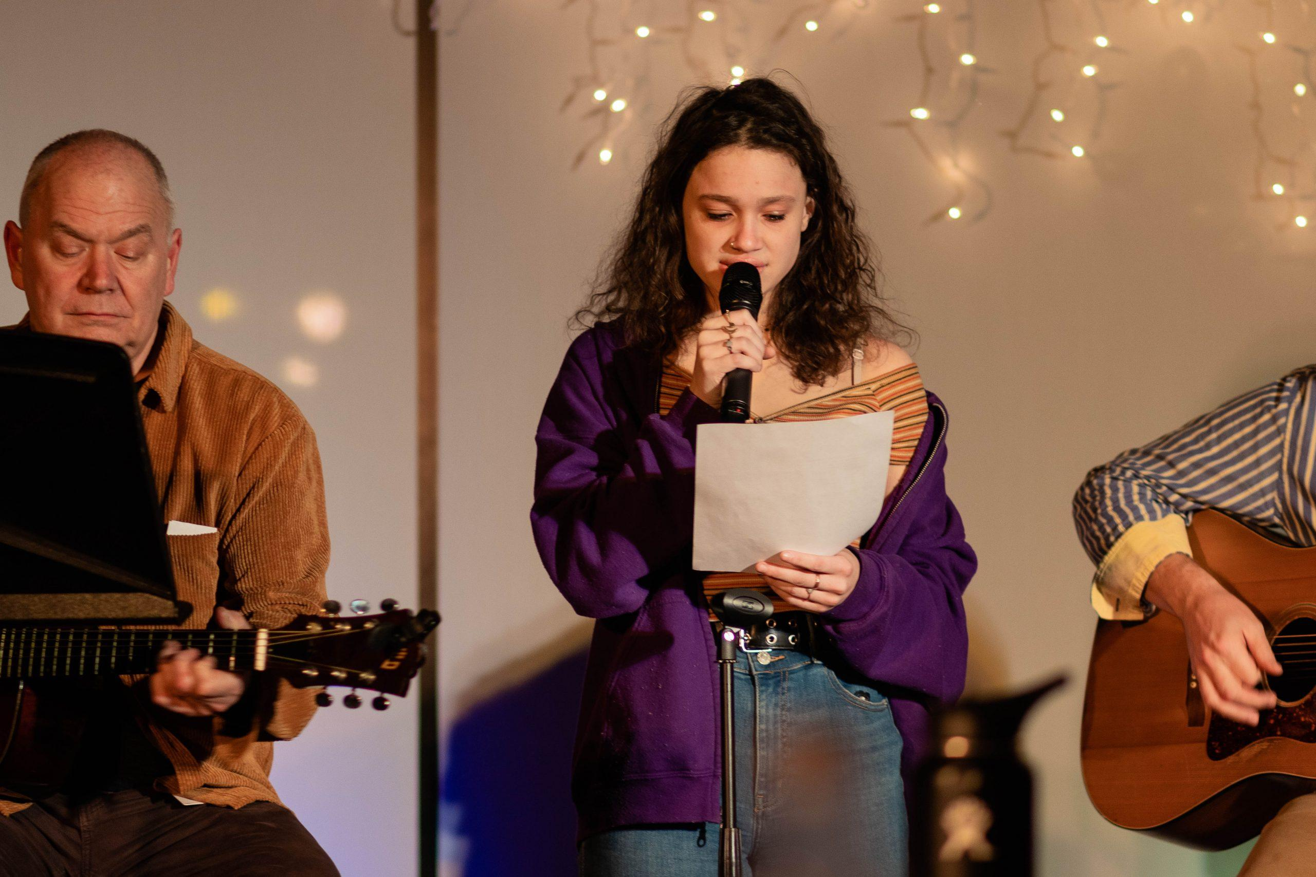 Alumni%2C+students%2C+and+faculty+gathered+to+share+music+and+poetry.