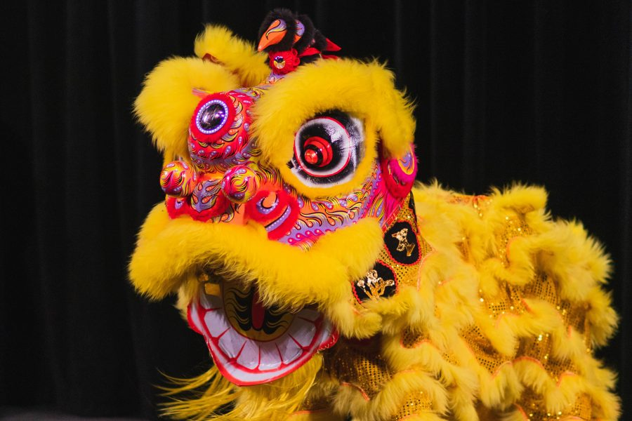 A Chinese lion puppet performs a Lion Dance.