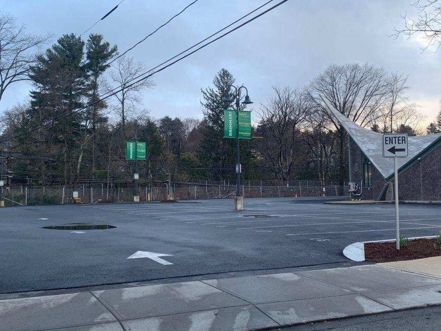 The parking lot was empty at 7:25 a.m. Tuesday morning, when most students typically arrive. Photo by David Cutler.