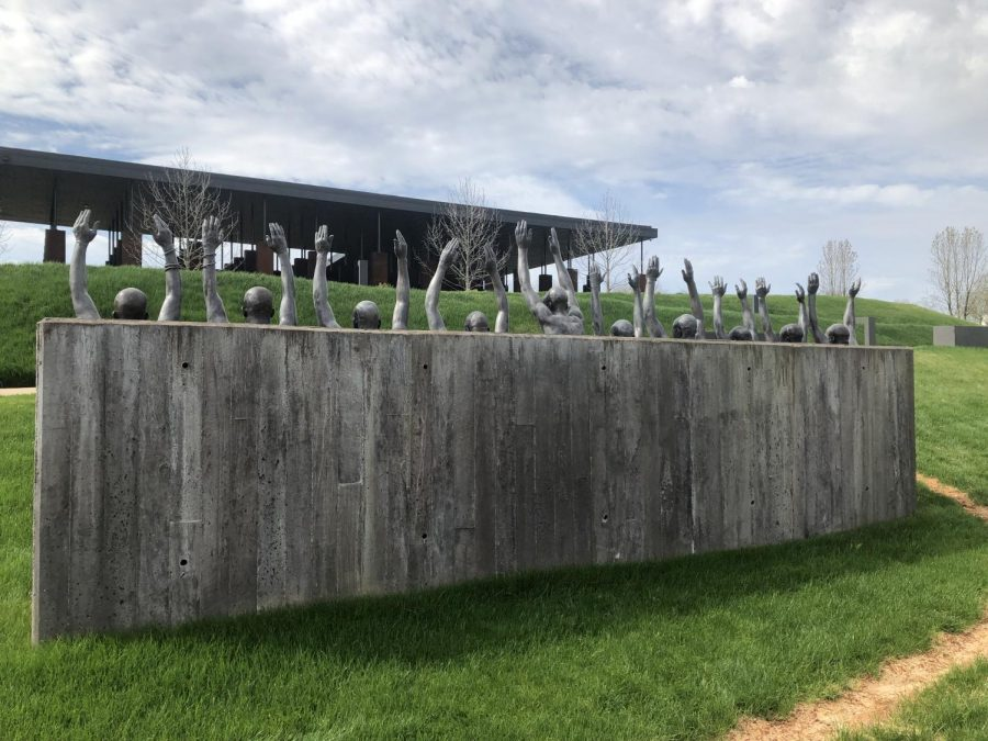 The lynching memorial at the Civil Rights Memorial Park.