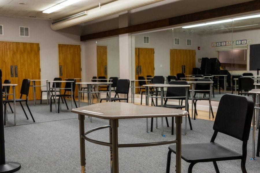A+classroom+is+set+up+with+desks+placed+six+feet+apart.+Photo+Illustration+by+Edan+Zinn+23.