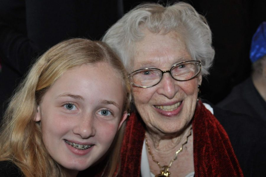 Hamilton at her cousins bat mitzvah with her great-grandmother in 2014.