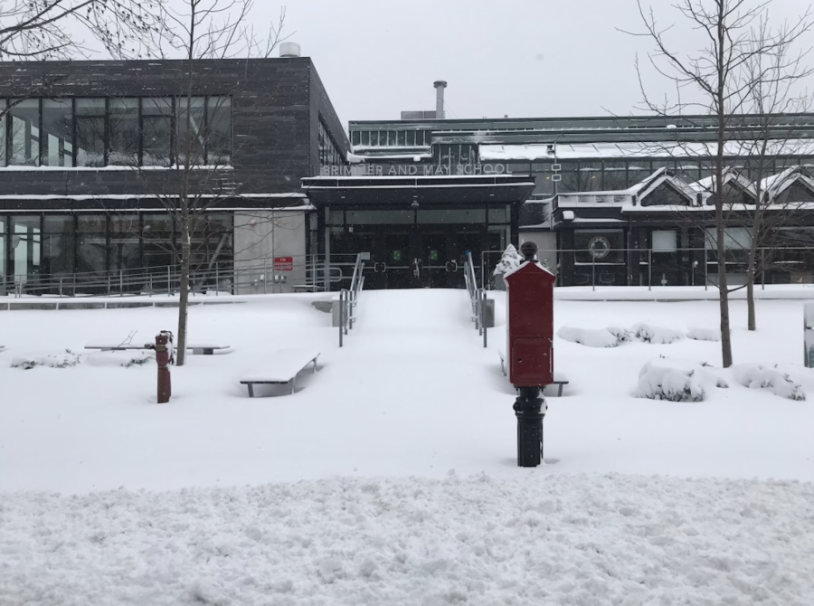 The Hastings Center covered in snow from a massive snowstorm.