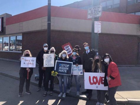 Community members attended a protest on Saturday. Photo courtesy of Helen Du.