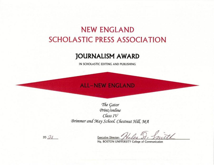 Gator Wins All-New England Journalism Award