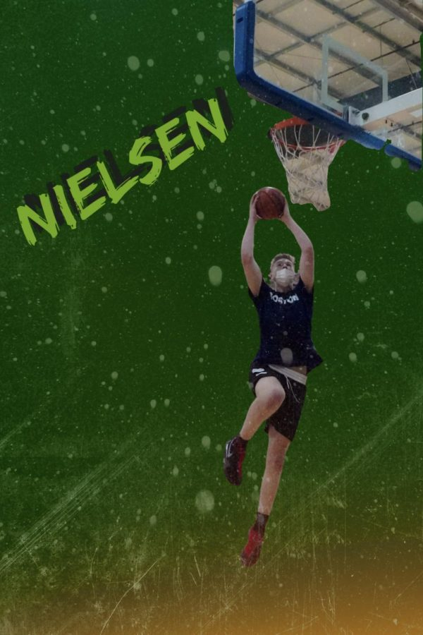 Nielsen dunks at a Mass Rivals game. Illustration by Jackson Ostrowski 23.