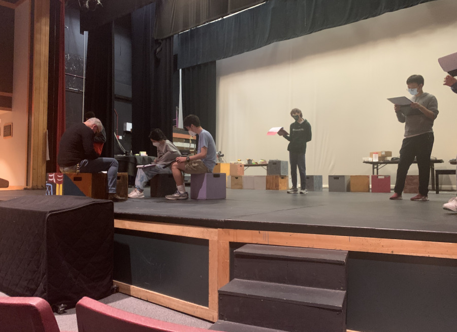 Elizabeth Fitzgerald 22, Zakkai Mares-Van Praag 22, Kyle Terino 24, and Jerry Dong 23 attend a play rehearsal.